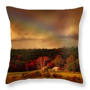 Rainbow Over Countryside Throw Pillow