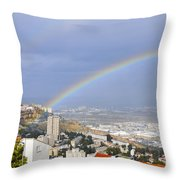 Rainbow Over Haifa, Israel  Throw Pillow