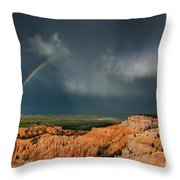 Rainbow Over Hoodoos Bryce Canyon National Park Utah Throw Pillow