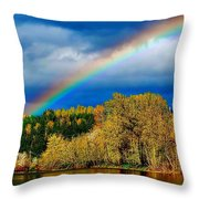 Rainbow Over Mill Pond Throw Pillow