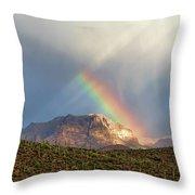 Rainbow Over Picketpost Throw Pillow