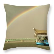 Rainbow Over The Danube In Tulln Austria Throw Pillow