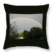 Rainbow Over The Trees Throw Pillow