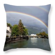 Rainbow Over Thiou River In Annecy Throw Pillow
