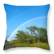 Rainbow Over Treetops Throw Pillow