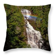 Rainbow Over Whitewater Falls Throw Pillow