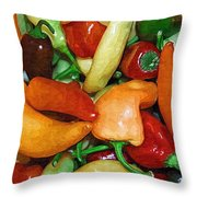 Rainbow Peppers Throw Pillow