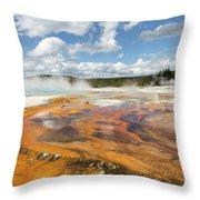 Rainbow Pool In Yellowstone National Park Throw Pillow