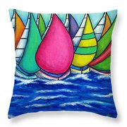 Rainbow Regatta Throw Pillow