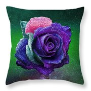Rainbow Rose Among The Stars Throw Pillow