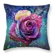 Rainbow Rose In The Rain Throw Pillow