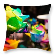Rainbow Roses Throw Pillow