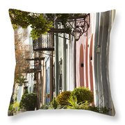 Rainbow Row Charleston Sc 2 Throw Pillow