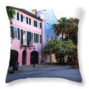Rainbow Row Charleston Throw Pillow