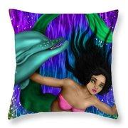 Rainbow Sea Mermaid - Fantasy Art Throw Pillow
