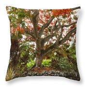 Rainbow Shower Tree Throw Pillow