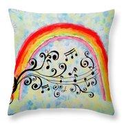 Rainbow Sings Throw Pillow