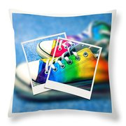 Rainbow Sneakers One Throw Pillow