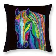 Rainbow Stallion Throw Pillow