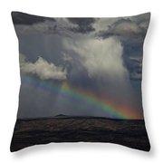 Rainbow Storm Over The Verde Valley Arizona Throw Pillow