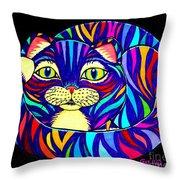Rainbow Striped Cat 2 Throw Pillow