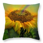 Rainbow Sunflower Throw Pillow