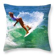 Rainbow Surf Day Throw Pillow