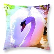 Rainbow Swan Throw Pillow