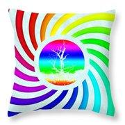 Rainbow Swirl Tree Throw Pillow