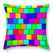 Rainbow Tiles Throw Pillow
