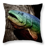 Rainbow Trout Wood Sculpture Throw Pillow