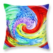 Rainbow Twirl Throw Pillow