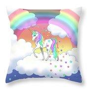 Rainbow Unicorn Clouds And Stars Throw Pillow