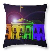 Rainbow White House Flare Throw Pillow
