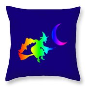 Rainbow Witch Throw Pillow