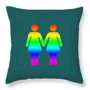 Rainbow Women Throw Pillow