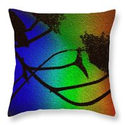 Rainbows And Stary Clouds Throw Pillow