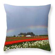 Rainbows At Tulip Festival Throw Pillow