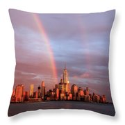 Rainbows In Nyc Throw Pillow