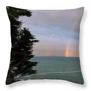 Rainbows Over The Ocean At The Mendocino Coast Throw Pillow