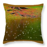 Raindrops Falling From A Tree Throw Pillow