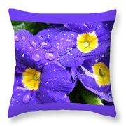 Raindrops On Blue Flowers Throw Pillow