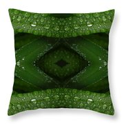 Raindrops On Green Leaves Collage Throw Pillow