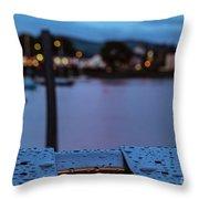Raindrops On Metal Bench 5 Throw Pillow