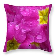 Raindrops On Pink Flowers Throw Pillow