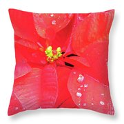 Raindrops On Red Throw Pillow