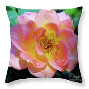 Raindrops On The Pink Rose Throw Pillow