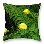 Raindrops On Yellow And Green Throw Pillow