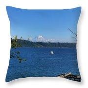 Rainier From Gig Harbor Park Throw Pillow
