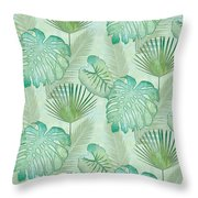 Rainforest Tropical - Elephant Ear And Fan Palm Leaves Repeat Pattern Throw Pillow